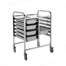 Double Row Stainless Steel Food Tray Trolley