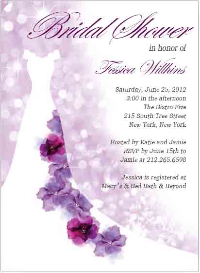 purple floral wedding dress bridal shower invitation hpb, Bridal shower invitations