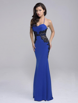 US$153.99 2016 Blue Sheath Halter Sleeveless Appliques Zipper Beads Elastic Satin Floor Length
