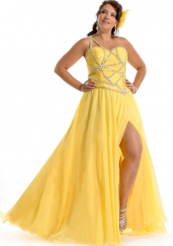 US$158.99 2015 Chiffon Split Front Sleeveless Yellow Red One Shoulder Floor Length