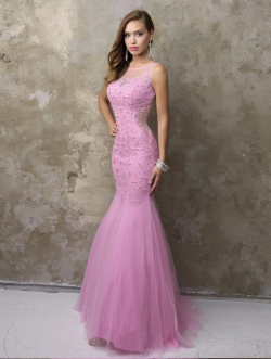 US$165.99 2016 Pink Mermaid Scoop Sleeveless Beads Appliques Zipper Tulle Floor Length