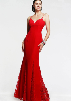 US$140.99 2015 Spaghetti Straps Ruched Appliques Chiffon Floor Length Red