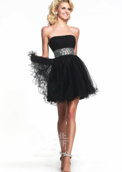 US$132.99 2015 Strapless Beading Lace Up Ruched Chiffon Tulle Black Short