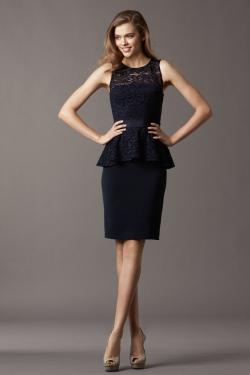US$136.99 Straps Column Black Ruched Knee Length Lace