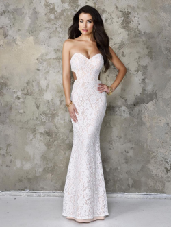 US$159.99 2016 White Ruched Blue Sheath Sweetheart Sleeveless Open Back Lace Floor Length