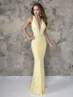 US$159.99 2016 White Yellow Sheath Straps Sleeveless Appliques Open Back Lace Floor Length