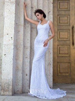 Justo/Coluna Sem Mangas Alças Apliques Cauda Média Renda Vestido de Casamento