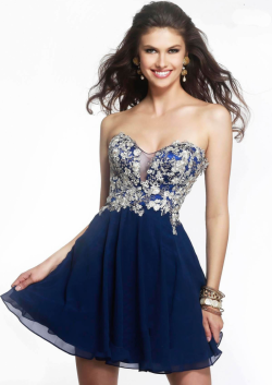 US$137.99 2015 Sweetheart Chiffon Navy Ivory Grey Appliques Ruched Short