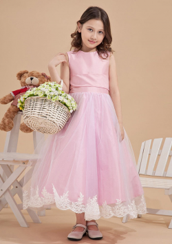 US$108.99 2015 Zipper Tea Length Bow Straps Tulle Appliques Pink Sleeveless Ball Gown