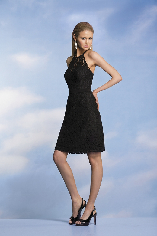 US$135.99 2015 Zipper Up Halter Black Appliques Sleeveless Chiffon Lace Short