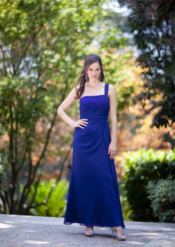 US$165.99 2015 One Shoulder Blue Sleeveless Chiffon Ruched Ankle Length