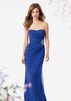 US$138.99 2015 Strapless Royal Blue Sleeveless Ruched Chiffon Floor Length
