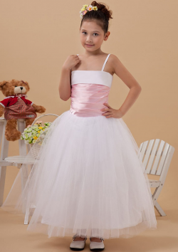 US$99.99 2015 Tulle Spaghetti Straps Zipper Ribbon Sleeveless White Tea Length Ball Gown