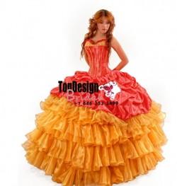 Gorgeous Coral orange organza taffeta pick up corset puffy new 2017 sweet 15 quinceanera dress