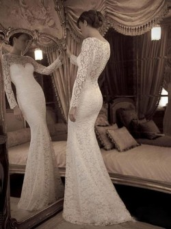Trumpet/Mermaid Scoop Neck Lace Sweep Train Ruffles Wedding Dresses in UK