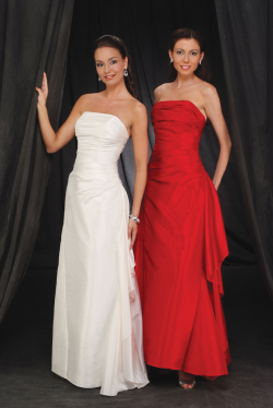 US$160.99 2015 Floor Length Strapless Sleeveless Red White Satin Ruched