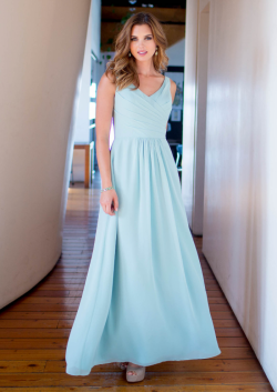 US$133.99 2015 Ruched Ankle Length A-line Chiffon V-neck Blue Sleeveless
