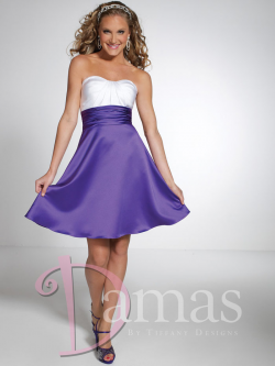 US$138.99 Ruched Sweetheart Satin A-line Short Length Purple Sleeveless Lace Up