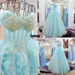 Wholesale 2017 Sweet 15 Dress Pearls Appliques Sky Blue Quinceanera dresses Pageant Prom Party Gown