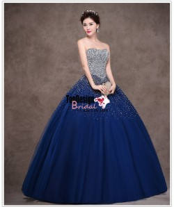 Wholesale Vestidos De Fiesta New 2017 Sweet 15 Dress Navy Blue Fully Beaded Quinceanera Ball Gown