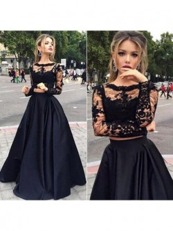 Shop Black Long Sleeve Tulle Elastic Woven Satin Appliques Lace Elegant Two Piece Ball Dress in  ...