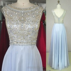 Shop Chiffon Tulle Scoop Neck Floor-length A-line with Beading Ball Dresses in New Zealand