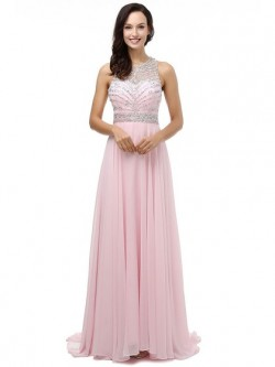 Shop Chiffon Tulle Scoop Neck Sweep Train A-line with Crystal Detailing Ball Dresses in New Zealand