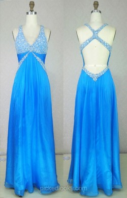 Shop Chiffon V-neck Floor-length A-line with Beading Ball Dresses in New Zealand