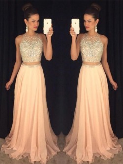 Shop Exclusive A-line Scoop Neck Chiffon Tulle with Beading Sweep Train Ball Dresses in New Zealand