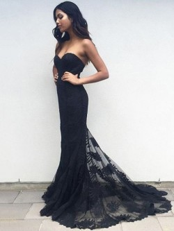 Shop Latest Trumpet/Mermaid Sweetheart Tulle with Appliques Lace Sweep Train Black Ball Dresses  ...