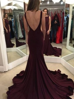 Shop New Arrival Trumpet/Mermaid Scoop Neck Chiffon Ruffles Court Train Burgundy Backless Ball D ...