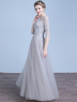 Shop Online A-line Scoop Neck Tulle Appliques Lace Floor-length 1/2 Sleeve Ball Dresses in New Z ...