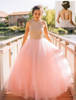 Shop Pink Scoop Neck Tulle Floor-length with Beading Glamorous Princess Ball Dresses in New Zealand