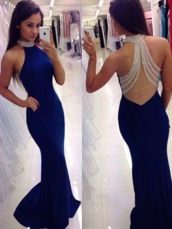 Shop Royal Blue Silk-like Satin Sweep Train Beading Trumpet/Mermaid High Neck Ball Dresses in Ne ...