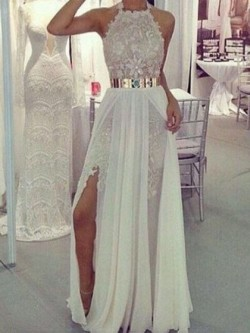 Shop Sexy Sheath/Column Halter Lace Chiffon with Sashes / Ribbons Floor-length Ball Dresses in N ...