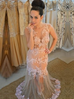 Shop Tulle Scoop Neck Floor-length Trumpet/Mermaid with Appliques Lace Ball Dresses in New Zealand
