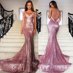 Shop V-neck Backless Sequined Court Train Appliques Lace Unique Trumpet/Mermaid Ball Dresses in  ...