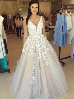 Shop V-neck Floor-length Tulle with Appliques Lace Princess Classy Ball Dresses in New Zealand