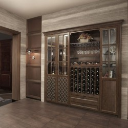 2014 OPPEIN Wooden Wine Cabinet With Glass JG21420