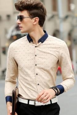 Beige Tiny Multicolor Fishbone Street Fashion Shirt