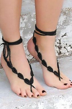 Black Crochet Leaves String Barefoot Sandals
