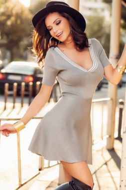 Wholesale Sexy Stripe V Neck Short Sleeves Grey Skater Dress