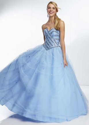 Strapless Striped Jewel Beading Corset Back Blue Ball Gown [ML-95001 Blue] – $184.00 : Pro ...