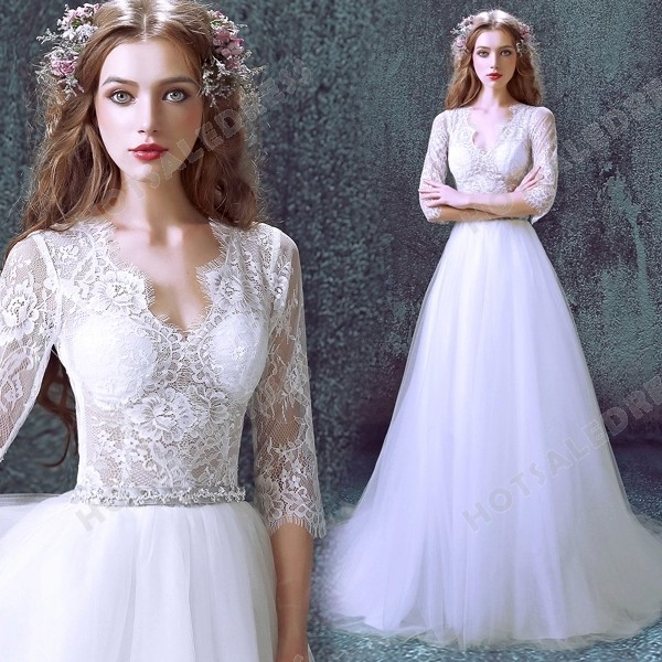 A-Line Luxurious Lace Sexy Deep V-neck Long-sleeved Wedding Dress 2016 New – Wedding Dresses