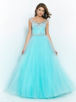 Ball Gown Scoop Floor-length Organza Dress POWDN14077BN460
