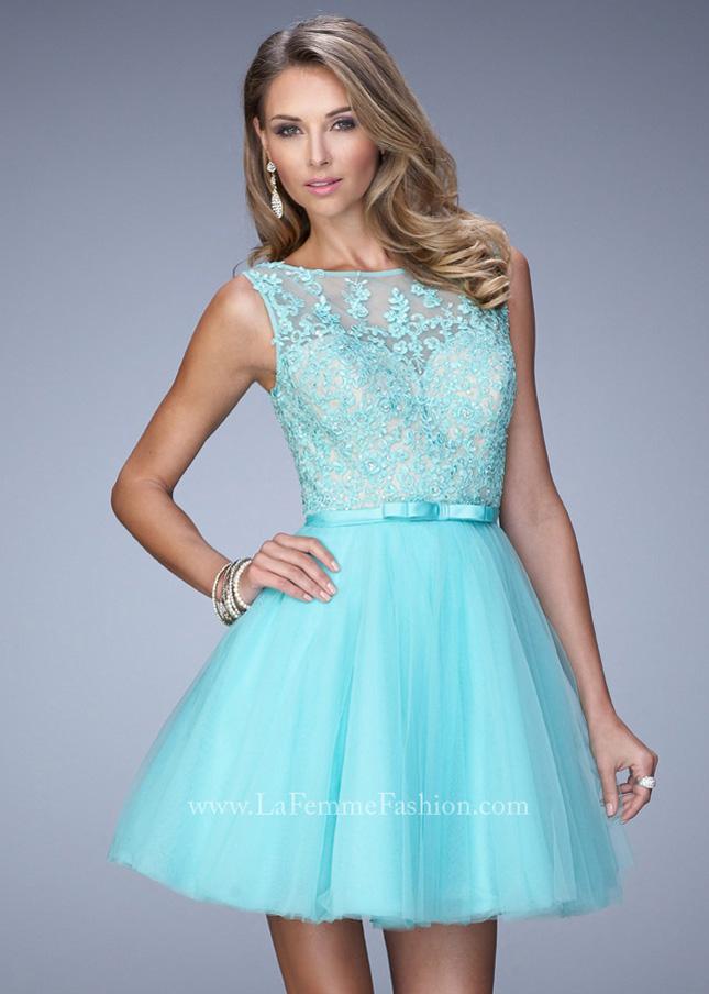2015 Light Mint High Neckline Lace Appliques Illusion Bodice Party Dress [La Femme 21835] – ...