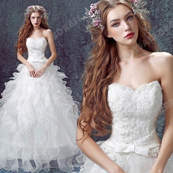 Princess Sweetheart Lace Strapless Floor-Length Wedding Dress 2016 New Custom Made – Weddi ...