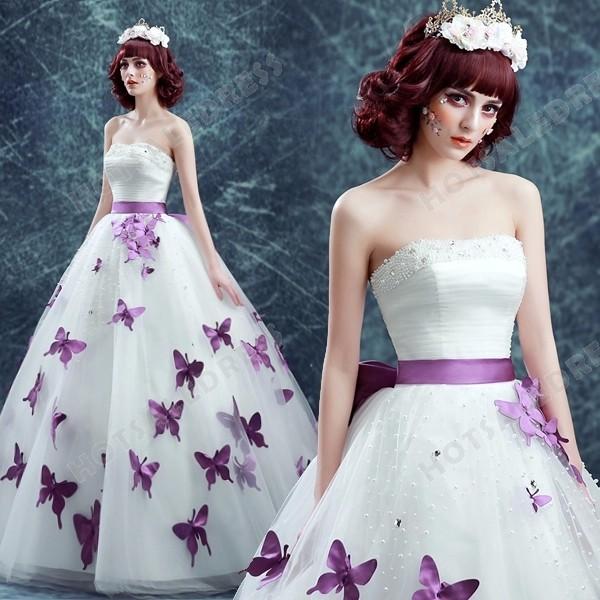 Purple Butterfly Strapless Ball Gown Pearl Floor-Length Wedding Dress 2016 New – Wedding D ...