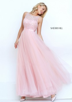 2016 Sherri Hill 50258 Glitzy Illusion Beaded Prom Dress [sherri hill 50258 blush] – $199. ...