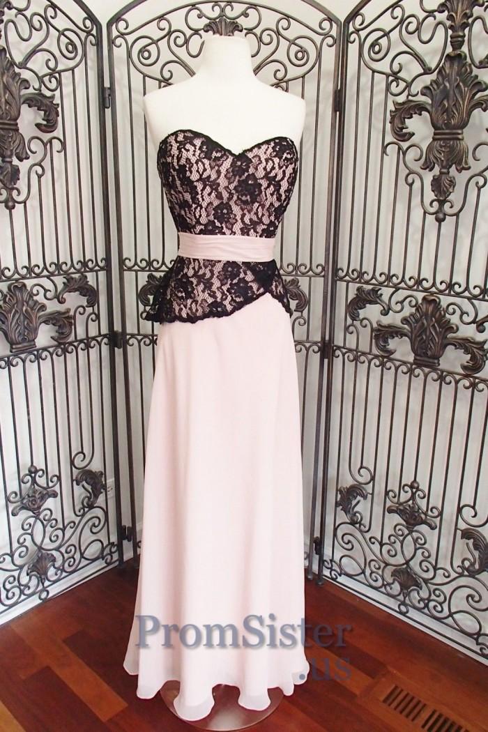 Black Pink Lace Top Strapless Chiffon Bridesmaid Dress – $125.00